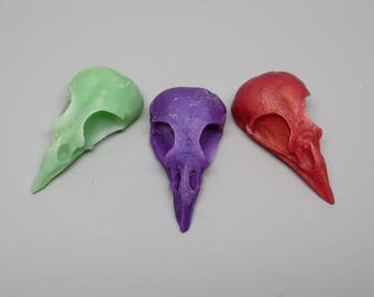 Polymer Clay Bird Skull Cabochons Set of 3, Jewelry Making, Craft Supply