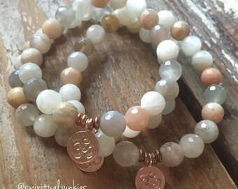 Sunstone, Moonstone + Rose Gold Vermeil Om | Spiritual Junkies | Yoga + Meditation | One Mala Bracelet