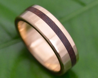 Size 10.75 READY TO SHIP Yellow Gold Equinox Nacascolo Wood Ring - ecofriendly recycled yellow gold wood wedding band, gold wedding ring