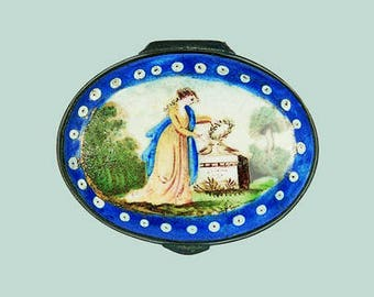 Gift Tag - Georgian Lady's Dressing Table, Bilston Enamel Patch Box, c1780