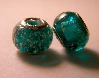 Pearl glow charm European glass Lampwork - emerald green - 14 x 10 mm-C31-9