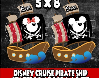 New Thicker Magnets! Mickey Minnie Mouse Pirate Ship Disney Cruise Line Stateroom Door Magnet Individual names  buy 3 get1free