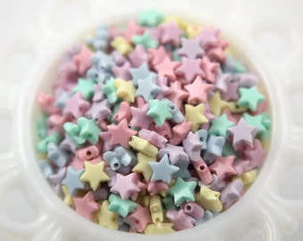 Pastel Star Beads - 10mm Tiny Plastic Pastel Star Beads - 200 pc set