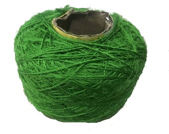 Recycled Sari Silk Yarn - Solid Color Parrot Green (100 Grams)