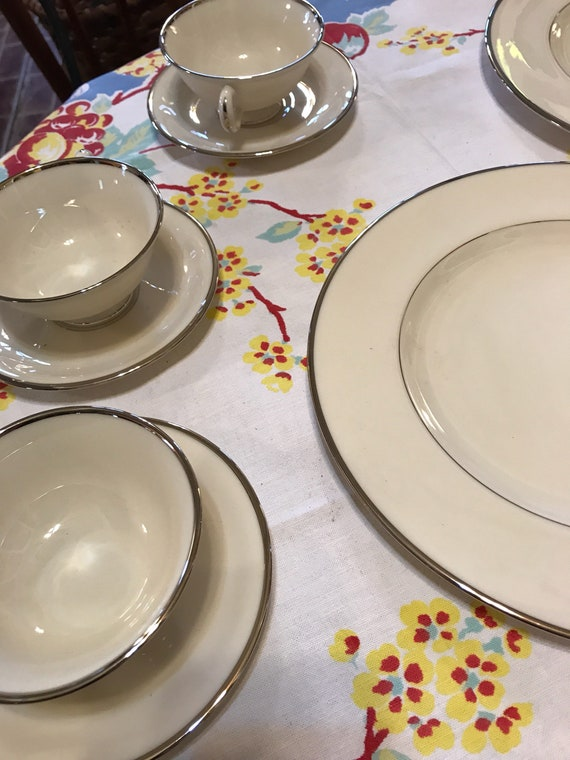 Platinum Cream Lenox Mayfair China 4 Dinner Plates w 3 Cups 3 Saucers