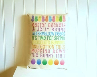 Easter pillow | Easter rabbit | Easter decorations | Farmhouse Decor | Easter subway art | Rustic | Easter gift | Spring decor