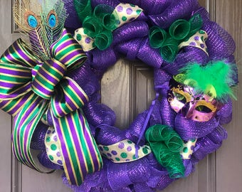 Mardi Gras Wreath, Purple Mask Mardi Gras Wreath