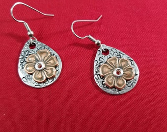 Earrings, Flower design, Pewter pendants, Stainless Steel ear wires, Hand stamped jewelry
