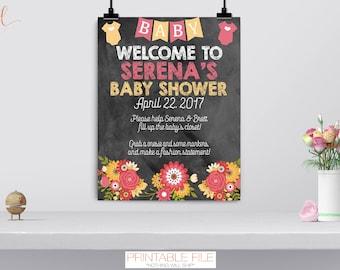 Onesie Decorating Sign, Design A Onesie Station, Baby Shower Game, Flowers, Bodysuit, Welcome Sign, Pink, Aqua, Yellow, Chalkboard, DIGITAL