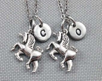 Best friend necklace, unicorn necklace, friendship necklace, initial necklace, animal necklace, bff necklace, friend necklace