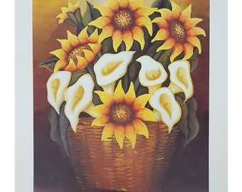 Vintage Sunflowers Reproduction 22 x 28 Mexican Print. Print Alone or Framed in Black Frame