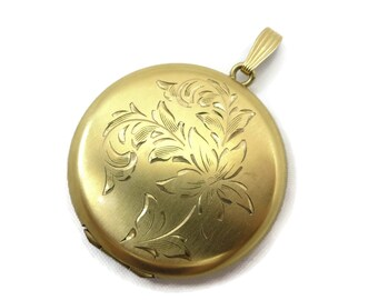 Gold Round Locket - Vintage Etched Floral, 12k Gold Fill