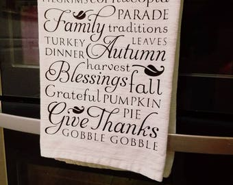 Flour sack towel, Thanksgiving kitchen towel, kitchen towel