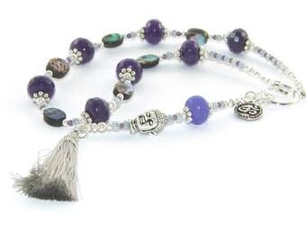 Buddha Prayer Beads, Paua & Purple Jade with Cotton Tassel