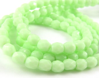Opaque Pale Green 5mm Facet Round Czech Glass Fire Polished Beads #50