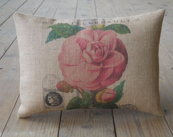 Feed sack Rose Burlap Pillow, French Rose Postcard, Farmhouse Pillows, Shabby Chic 28, Spring Pillow, Mother's Day Gift,  INSERT INCLUDED