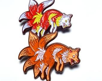 Enamel Kitsune Pin Brooch
