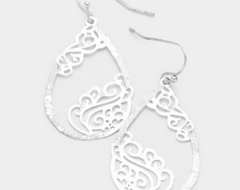 Filigree Metal Teardrop Hoop Dangle Earrings - Rhodium