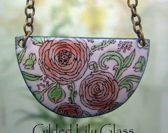 Pink Heirloom Rose Enamel Crescent Pendant, Copper Enamel Jewelry handmade in North Carolina