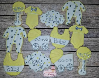 Baby Shower, buggy, Jumper, Rattle, bib, pajamas decorated Sugar Cookies  -1 dozen