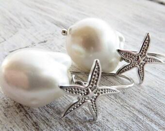 Baroque pearl earrings, starfish earrings, 925 sterling silver earrings, bridal earrings, drop earrings, wedding jewelry, dangle earrings
