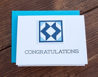 Congratulations. Quilt Letterpress Greeting Card