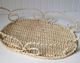 Wicker and metal tray / Shabby cottage / French farmhouse / Vintage display tray / UpstairsAtAliceAnns