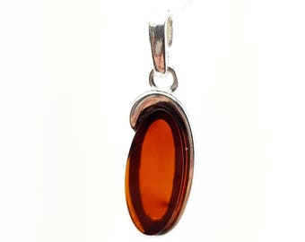 sterling silver pendant with natural Baltic amber