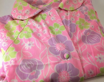 60s 70s flower power house coat nylon floral cover up lingerie pink purple green slinky robe hippie style