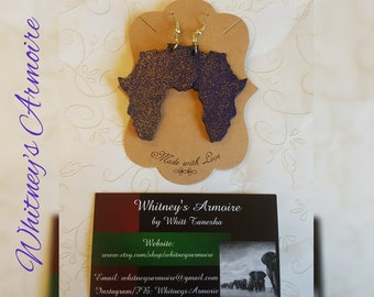 African Shaped Dangle Hand Painted Custom Earrings