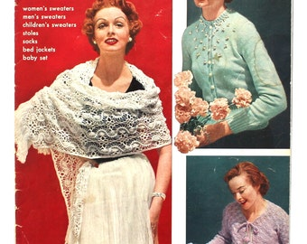 1950's Nylon Knitting and Crochet Magazine with Awesome Patterns!