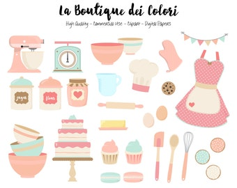 Pink and blue Baking Clipart, Cute Digital Graphics PNG, Vintage Bakery, Cooking, cake, cookies Clip art, Planner Stickers Commercial Use
