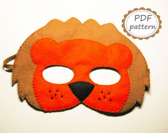 PDF PATTERN Lion felt mask sewing tutorial instruction DIY handmade brown forest animal costume accessory for boy girl adult Dress up play