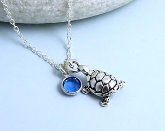 Turtle Birthstone Necklace, crystal birthstone, silver sea turtle necklace, tortoise necklace