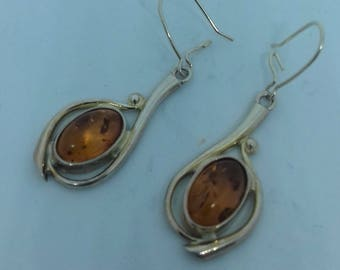 Gothic Style Amber Earrings in Silver