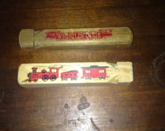 Wooden Train Whistle Lot - The Whistlin' Dixie & A Train Whistle