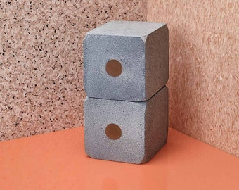 Large Modernist Cube Bookends; Concrete and Resin. Set of 2
