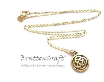 Gold Celtic Knot Necklace - Celtic Circle Necklace - Irish Jewelry - Celtic Knot Jewelry - Scottish Necklace