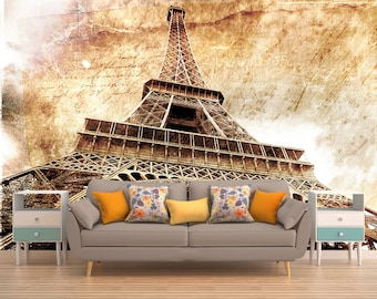 Eiffel Tower Wall Mural,Paris Mural,France,Grunge,Large Wall Mural,Wall Covering,Photo Wallpaper,Self Adhesive,Peel and Stick,Made to Order