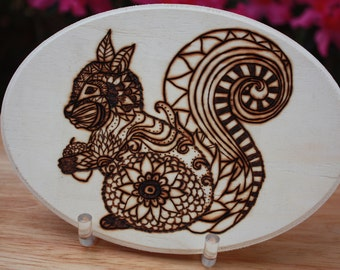 Squirrel with acorn Wood Burned Design.