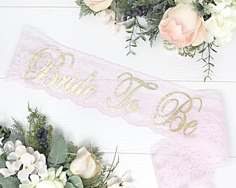 Clearance  Basic Lace Bachelorette Sash - Bridal Shower Sash - Bachelorette Sash - BLUSH Pink Lace