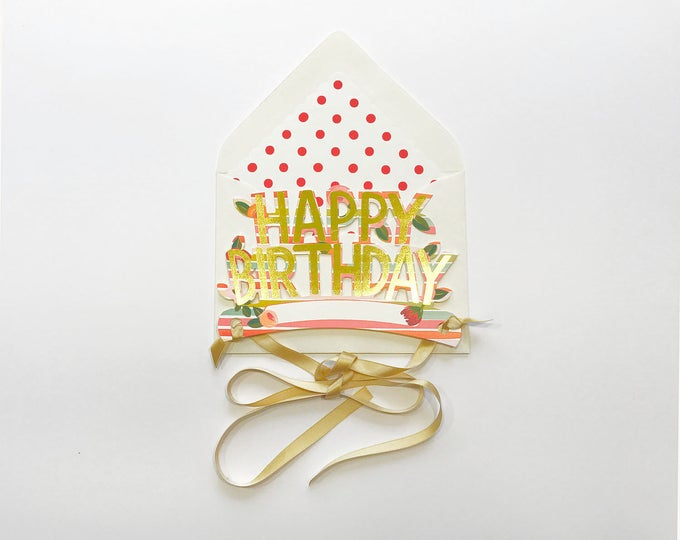 Wearable Happy Birthday Crown in Stripes