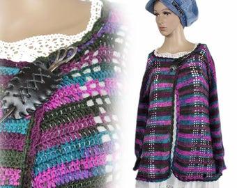 Hand crochet handmade hippie cottage jacket bolero Shabby chic Gr. 42 44