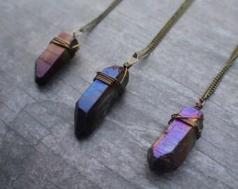 Aura Quartz Necklace, Purple Aura Quartz, Raw Crystal Necklace, Aura Quartz Point, Bohemian Jewelry, Festival
