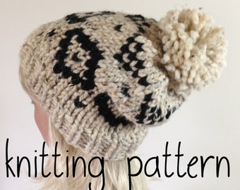 Aztec pattern hat etsy knit slouchy beanie pattern knitted hat with aztec style pattern pom pom hat dt1010fo