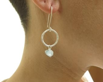Aquamarine earrings. Genuine raw aquamarine earrings. Aquamarine and sterling silver earrings. Artisan aquamarine earrings. March birthstone