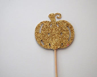 Gold Glitter Pumpkin Cupcake Toppers,Fall Theme,Wedding,Baby Shower,Thanksgiving,Fall Entertaining,Harvest Decor