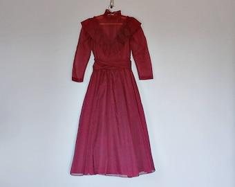 Vintage 70's RARE Gunne Sax burgundy prairie dress // Size XXS / XS