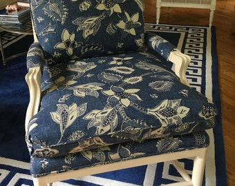Lexington French Ladder Back Chair and Square Ottoman - Totally Refurbished - Shipping Rates Vary