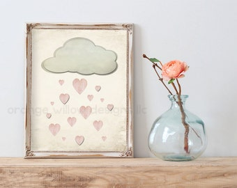 It's Raining Love (2AOWD1A) Two sizes included 16x20 & 8x10 Poster Size Every cloud has a silver lining, raining love art printable